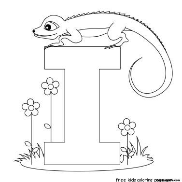 Printable alphabet worksheets letter i for Iguana for