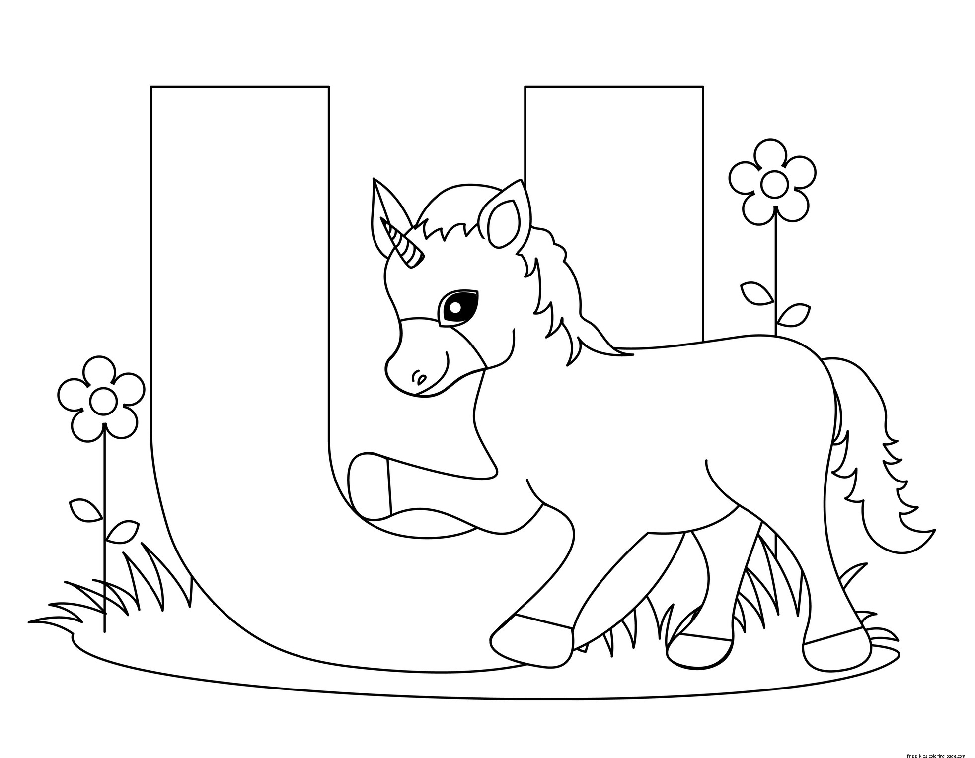 Printable Alphabet Letters Uppercase Letter U Is For Unicornfree Printable Coloring Pages For Kids