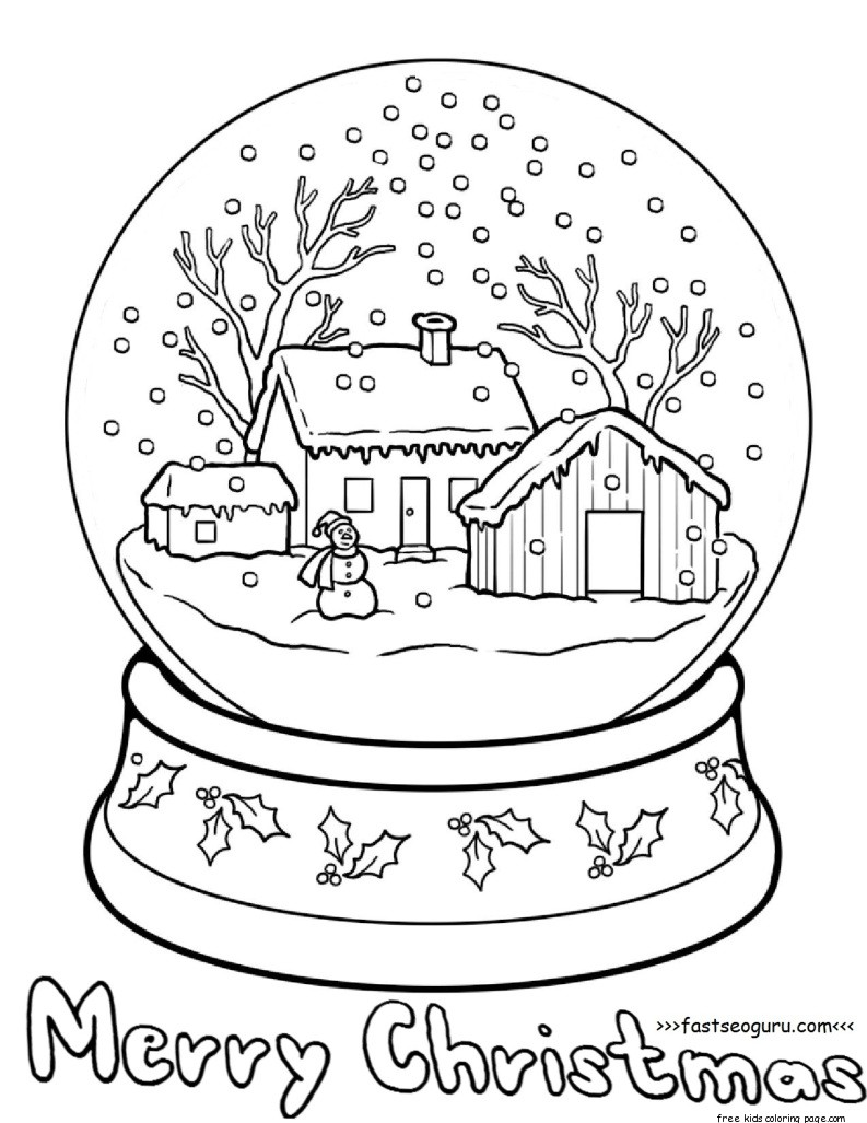 Printble christmas snow globe coloring pages for kidsFree