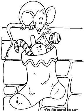 Christmas stockings Presents for Mouse coloring pagesFree