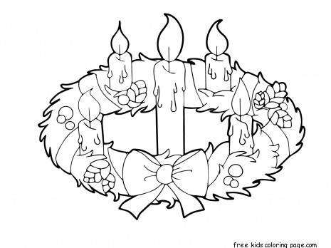 Printable advent wreath candles coloring page for kidsFree
