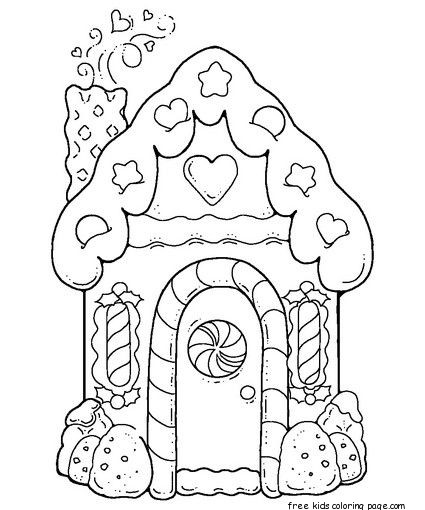 gingerbread house printable coloring pages for kidsFree