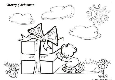 Merry christmas gift card coloring pages printable for kids