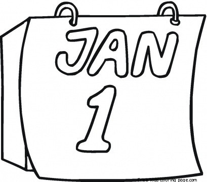 New year calendar coloring page for kids