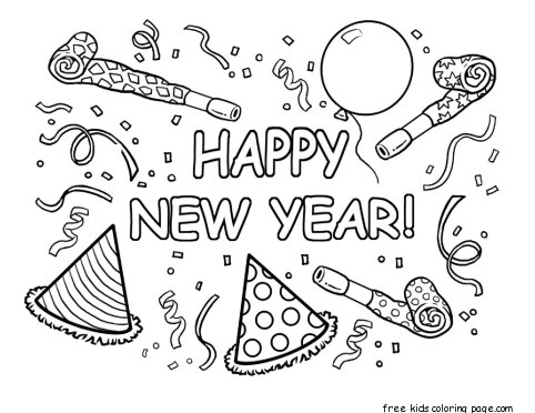 Print out happy new year coloring card
