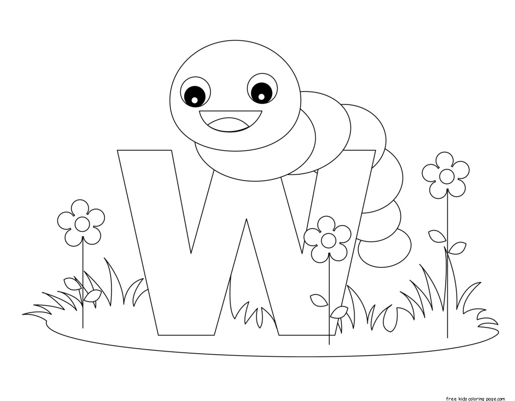 Printable Alphabet Letters With Animals Letters W Is For Wormfree Printable Coloring Pages For Kids