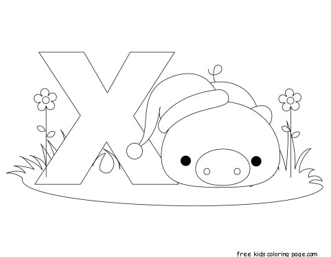 Printable alphabet letter x worksheet for xenarthraFree