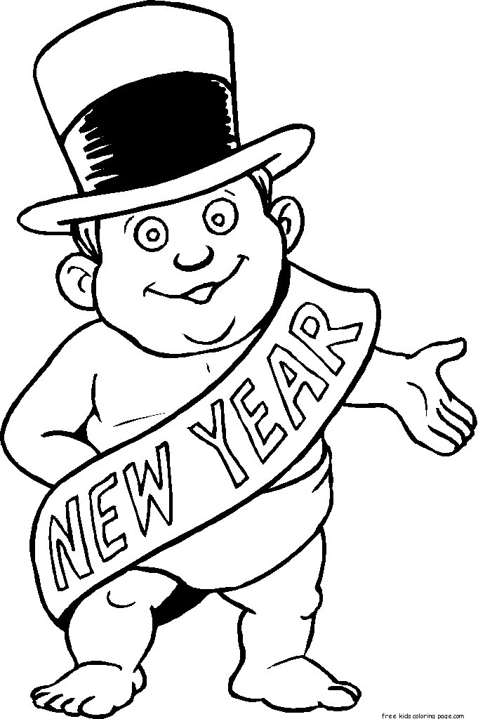 Printable new years baby coloring sheet for kidsFree