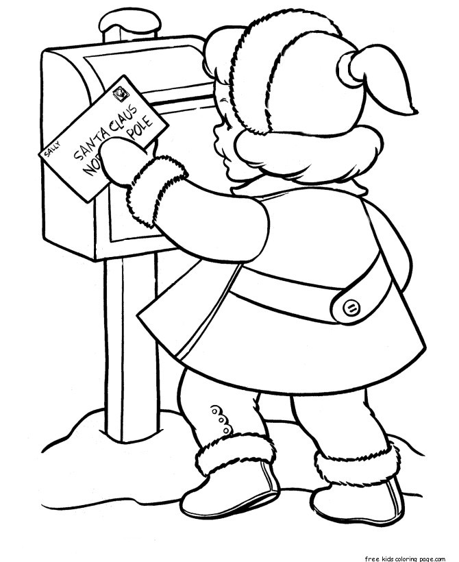 little girl sent a letter to santa claus coloring