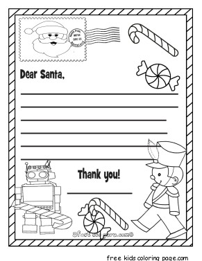 Printable Christmas Wish List To Santa Claus For Kids For