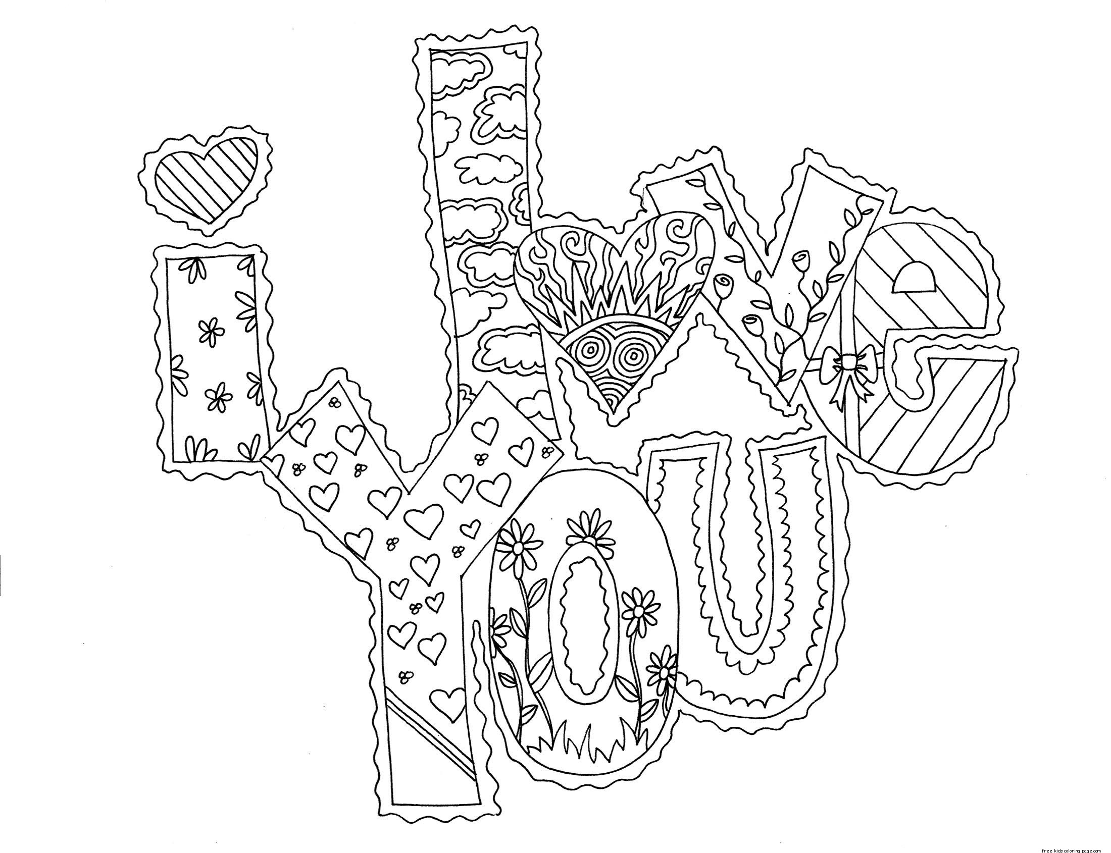 Printable I Love You My Valentine Cards Coloring Pagesfree