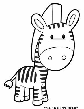 Printable zebra preschool coloring page for kidsFree