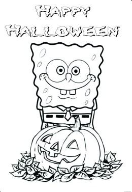 Printable Happy halloween spongebob coloring in page
