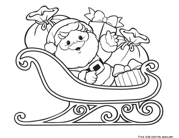 Santa Claus With Sleigh And Gifts Free Printable