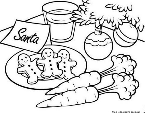 Gingerbread cookies for Santa Christmas coloring