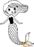 picture to coloring book mermaid