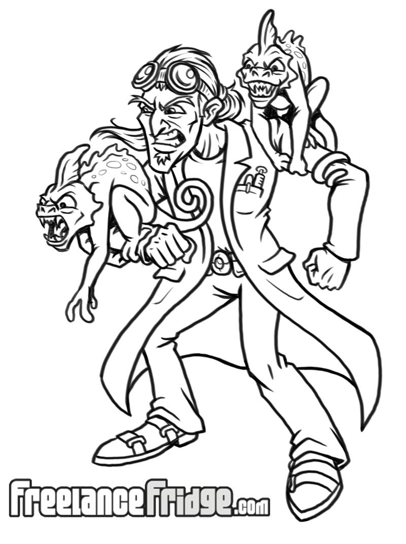 Mad Scientist Biologist Sketch
