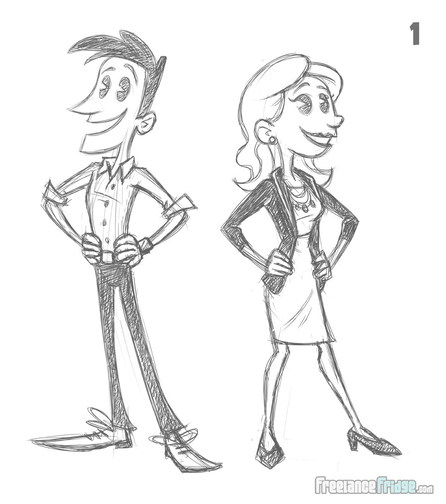 Business Man and Woman Character Designs and Poses