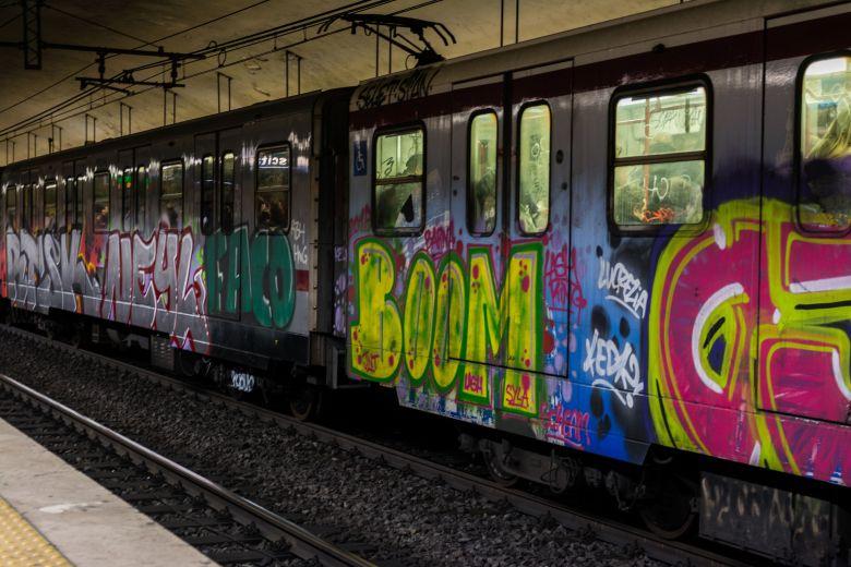 61427509 - graffiti italian subway train rome underground transportation