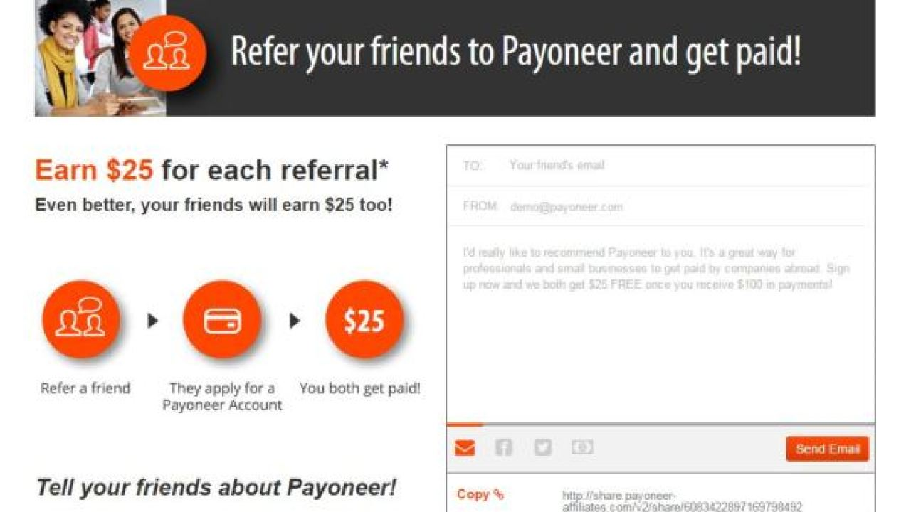 How to Earn money with Payoneer Refer a Friend Affiliate