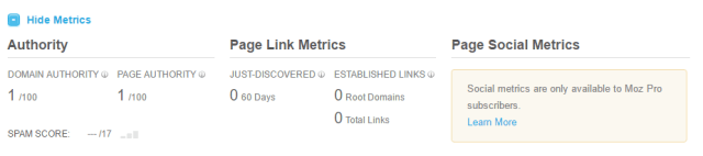Moz website authority scores for my new domain