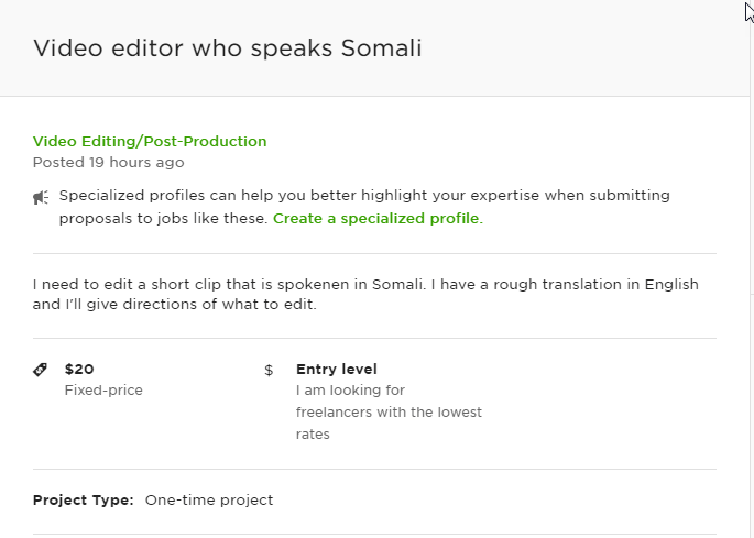Video Editor Who Speaks Somali