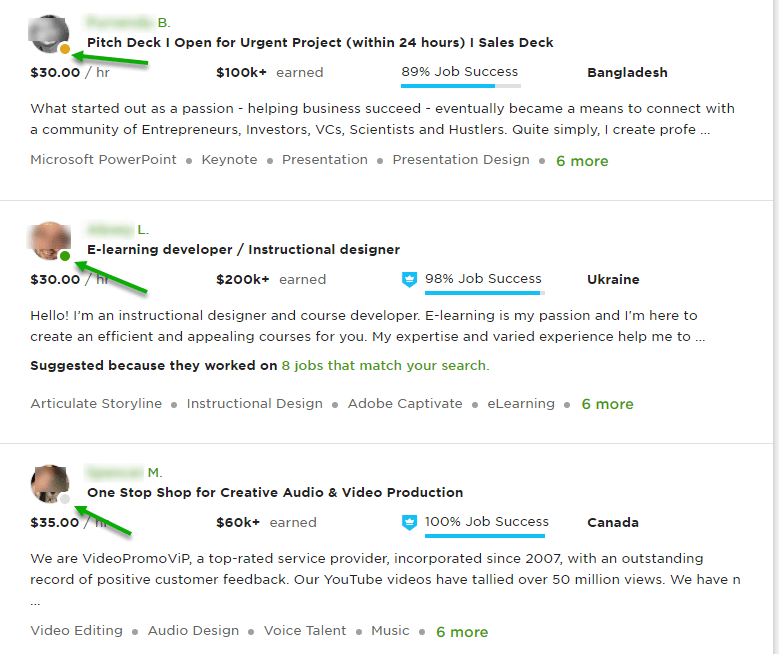 upwork profile active, inactive and grey