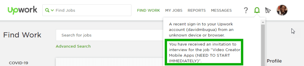 Upwork Job Invitation