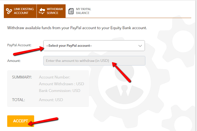 withdraw from PayPal to Equity
