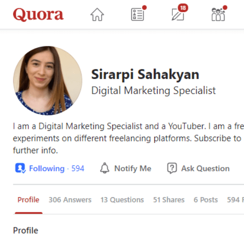 Quora marketing creating your profile