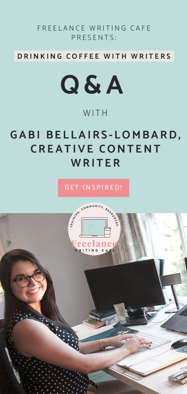 Drinking Coffee With Writers - Gabi Bellairs-Lombard, Creative Content Writer - Freelance Writing Cafe - Pinterest