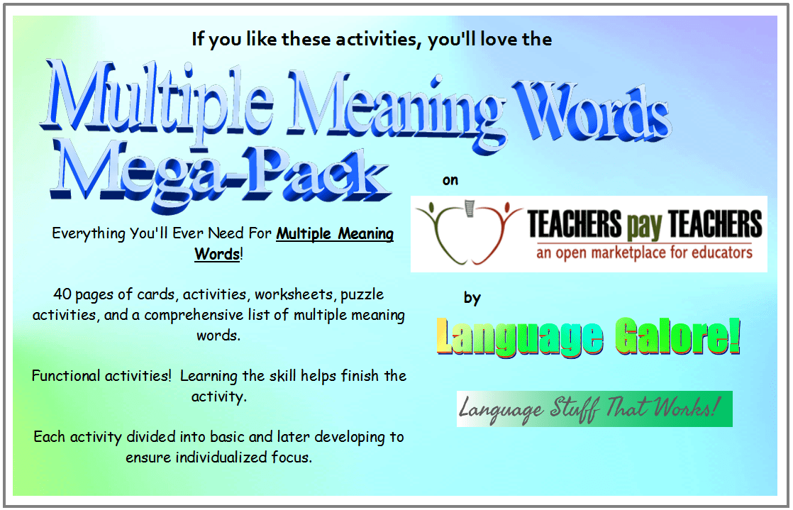 hight resolution of Multiple Meaning Words – Activities