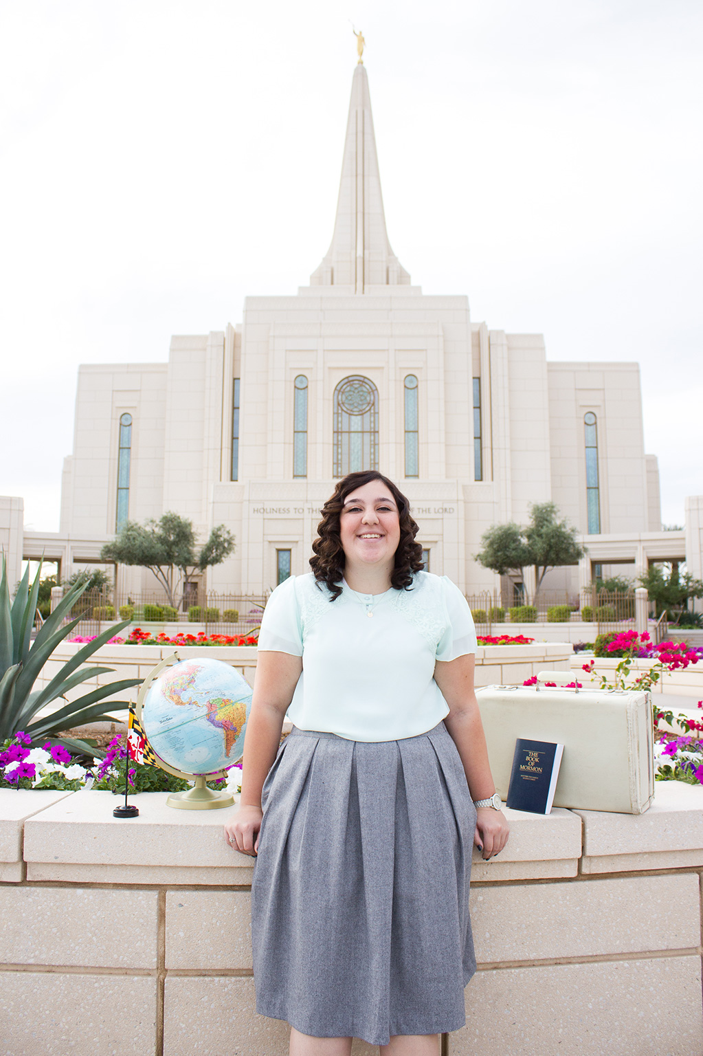 LDS Sister missionary photoshoot in front of the gilbert arizona temple