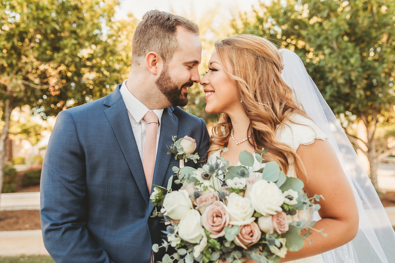 LDS wedding bride and groom at Gilbert Temple Arizona