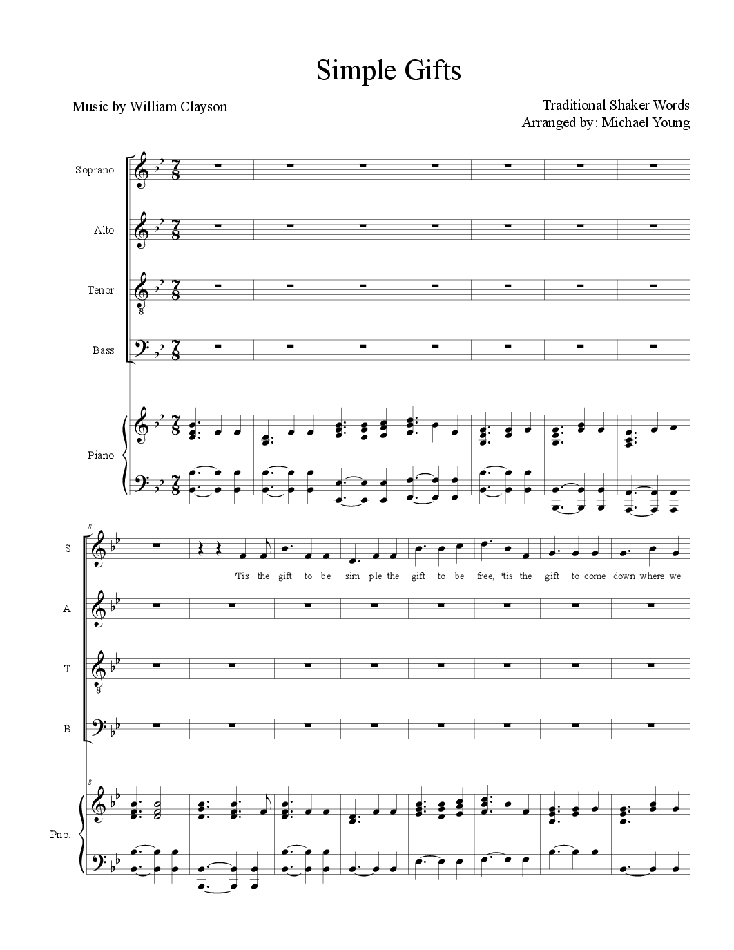 Simple Gifts By Michael D Young Satb