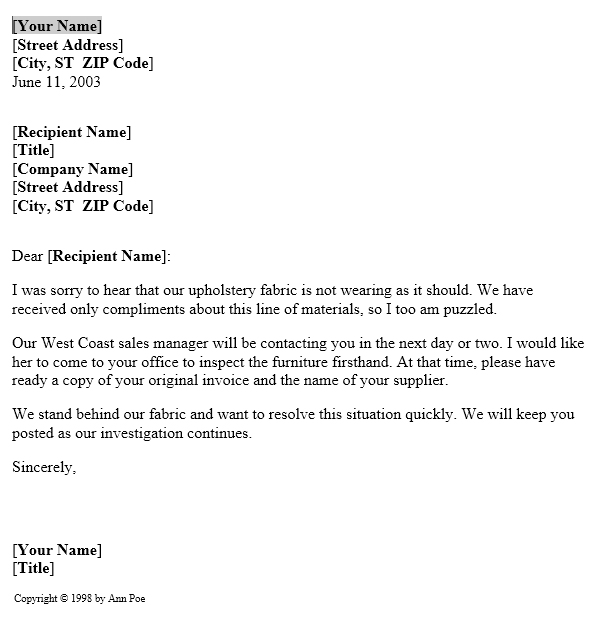 MS Word Notice Of Product Complaint Investigation Letter Template