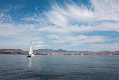 Our buddy-boat, She's No Lady, leaving Ensenada