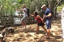 Feeding Rand to the (fake) croc in La Manzanilla