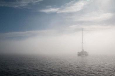 Early morning fog enshrouds S/V JollyDogs off Loreto