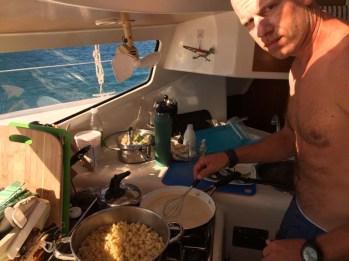 Makin' mac 'n cheese for the passage to Mazatlan