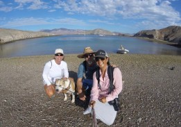 Beach landing at La Ventana with Vicki and Maya, the dog