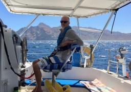 En route to Ensenada Pulpito. 30kts, triple-reefed main, scrap of genny - giddy-up!