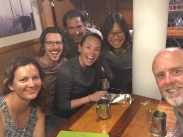 Marga (Dogfish), Craig (Sm World), Greg (Dogfish), Krystle (Sm World), me and the Capt. aboard Dogfish for sushi night