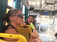 On the bus back to Barra - looks like Sammi is trying to eat Brenda's paleta
