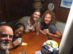 Last dinner and euchre aboard Volaré before heading north again