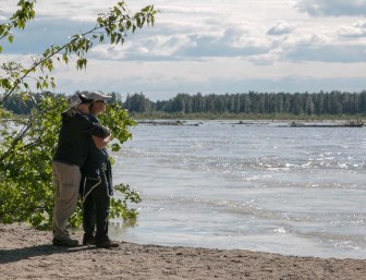 On the shore of the Talkeetna River