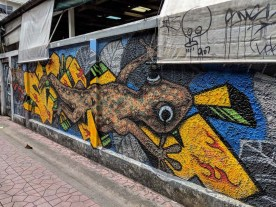 Very cool wall art in Thailand - also similar to Mexico
