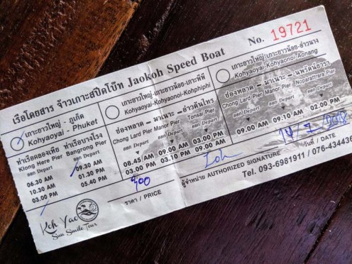 Speed boat ticket