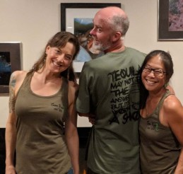 Showing off our birthday bash shirts that were made for Flea's 55th