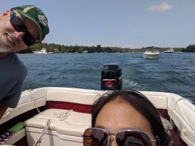Taking the boat from the ramp to the house on Lake Charlevoix